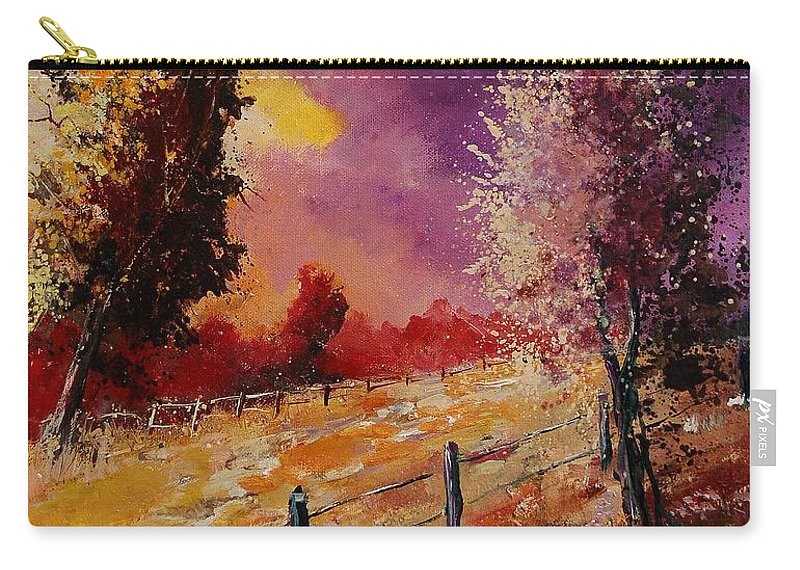 Tree Carry-all Pouch featuring the painting Two Trees Waiting For The Storm by Pol Ledent