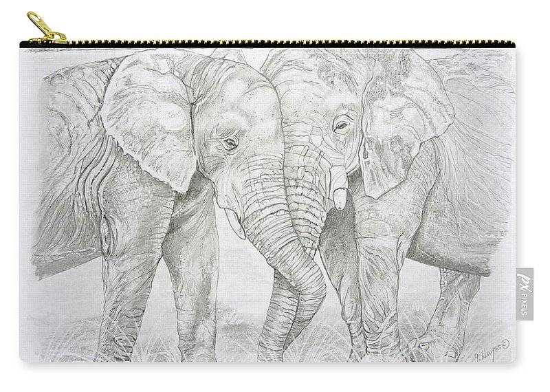 Elephants Touching Carry-all Pouch featuring the drawing Two Trunks by Gregory Hayes