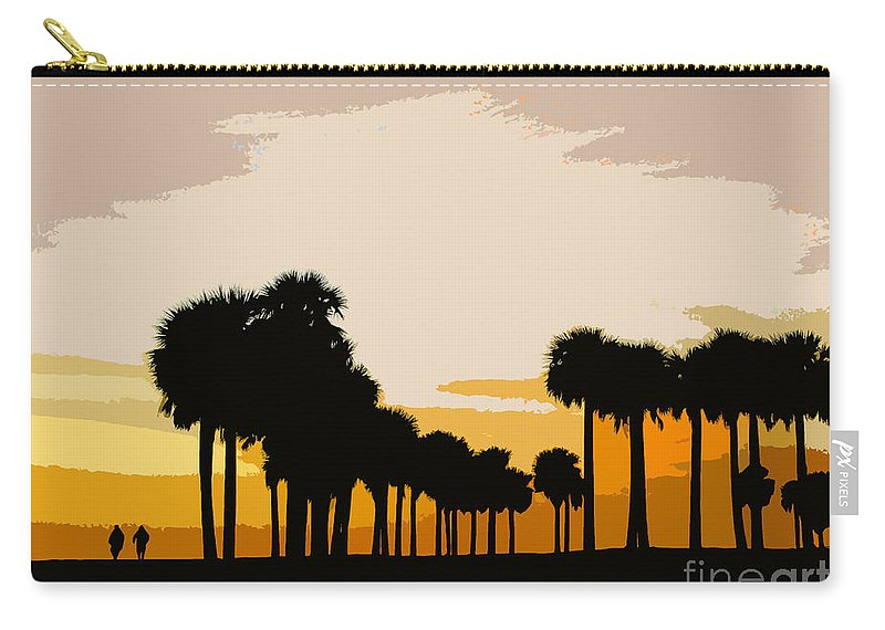 Palm Trees Carry-all Pouch featuring the painting Two With The Palms by David Lee Thompson