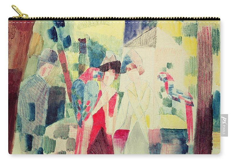 Two Carry-all Pouch featuring the painting Two Women And A Man With Parrots by August Macke