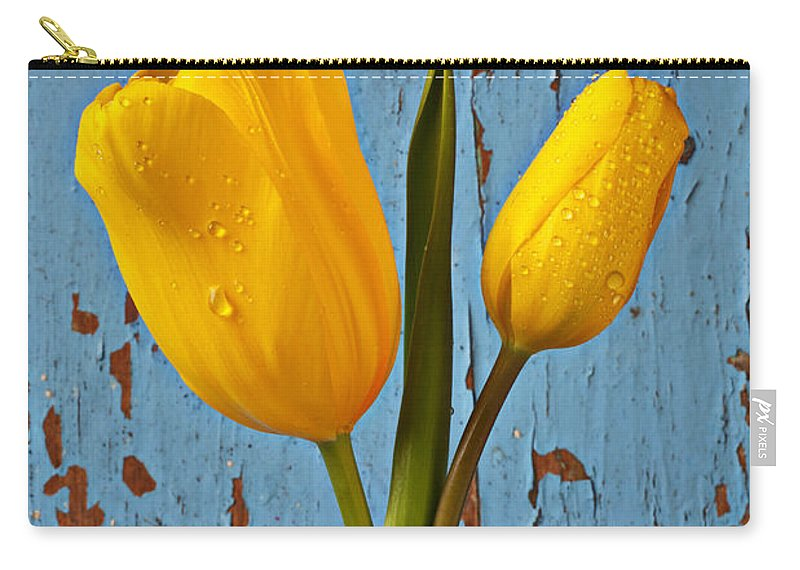 Two Yellow Carry-all Pouch featuring the photograph Two Yellow Tulips by Garry Gay