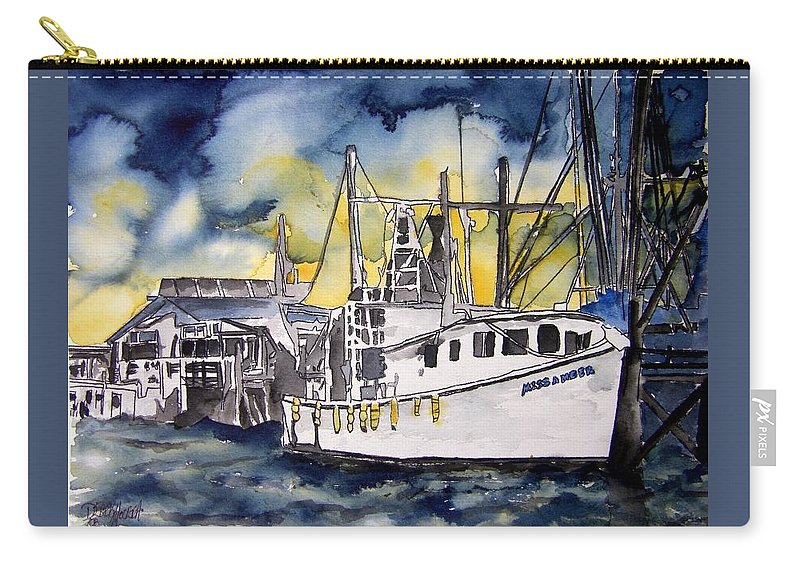Georgia Carry-all Pouch featuring the painting Tybee Island Georgia Boat by Derek Mccrea