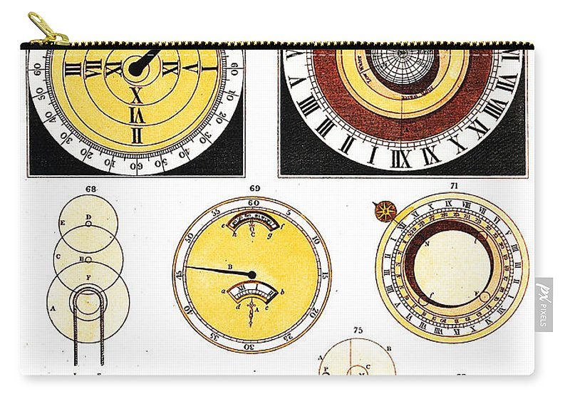 Historic Carry-all Pouch featuring the photograph Types Of Clockfaces And Mechanism, 1809 by Wellcome Images