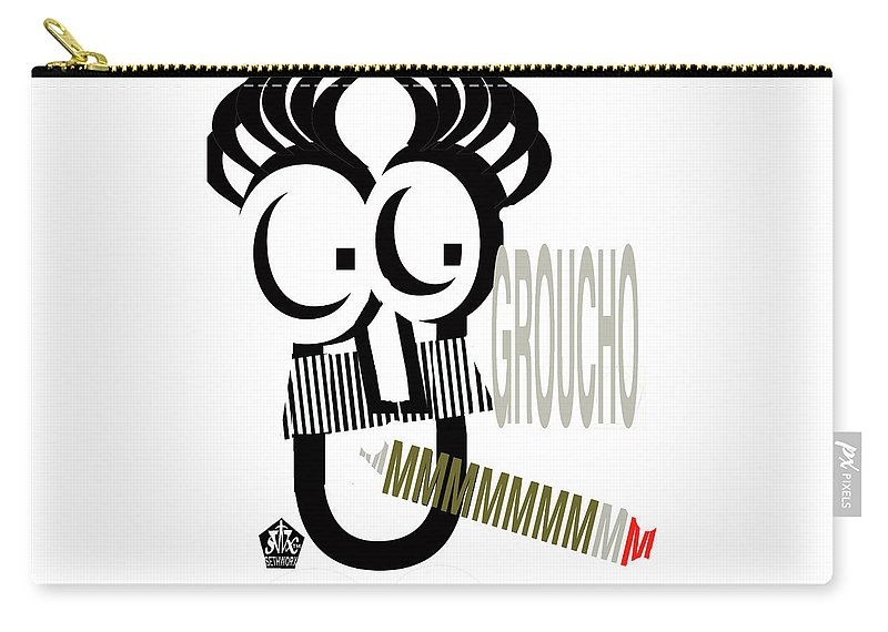 Typo-groucho Carry-all Pouch featuring the digital art TypoGroucho by Seth Weaver