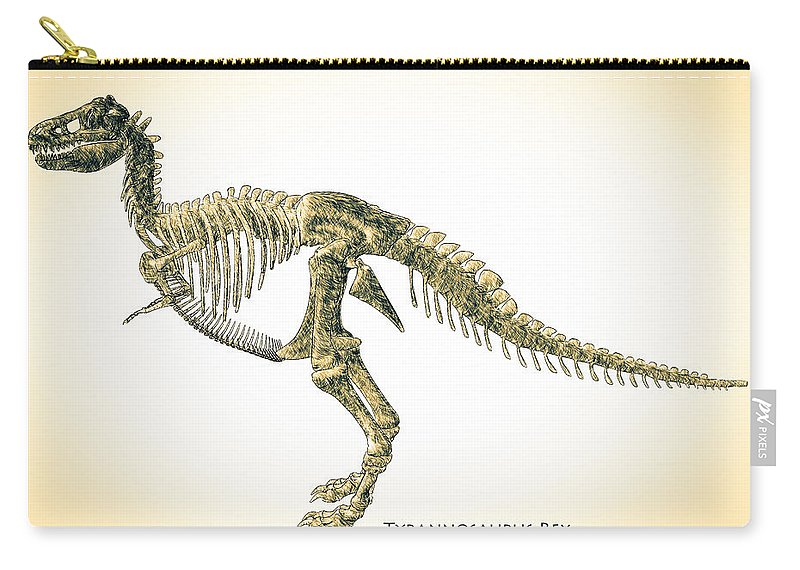 Biology Carry-all Pouch featuring the digital art Tyrannosaurus Rex Skeleton by Bob Orsillo
