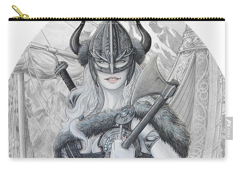 Viking Carry-all Pouch featuring the drawing Tyryja by Kristopher VonKaufman