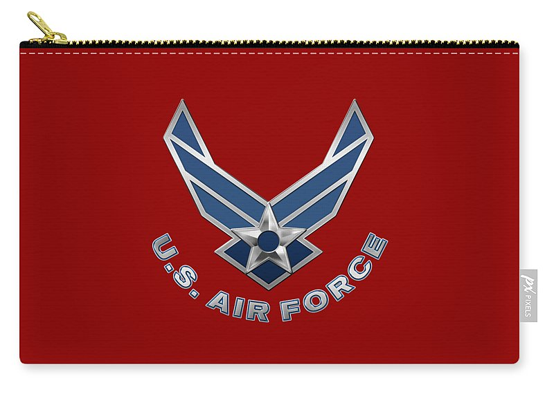 'military Insignia & Heraldry 3d' Collection By Serge Averbukh Carry-all Pouch featuring the digital art U. S. Air Force - U S A F Logo On Red Leather by Serge Averbukh
