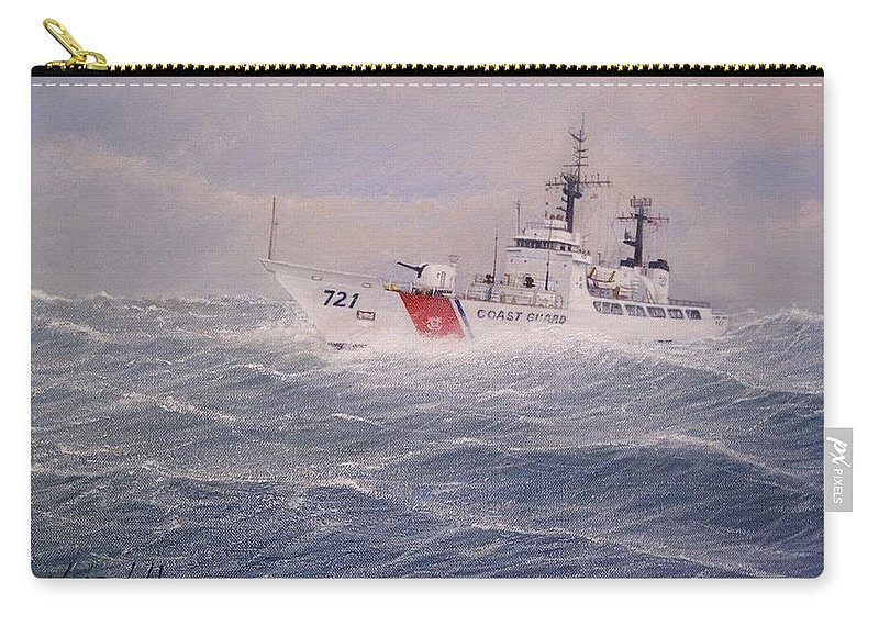 Ship Carry-all Pouch featuring the painting U. S. Coast Guard Cutter Gallitin by William H RaVell III