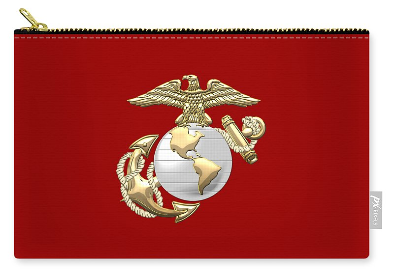 'military Insignia & Heraldry 3d' Collection By Serge Averbukh Carry-all Pouch featuring the digital art U. S. Marine Corps Eagle Globe And Anchor - E G A On Red Leather by Serge Averbukh