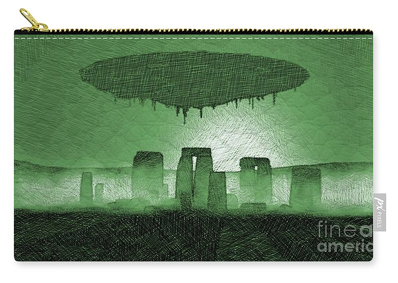 Stonehenge Carry-all Pouch featuring the drawing Ufo Over Stonehenge by Raphael Terra