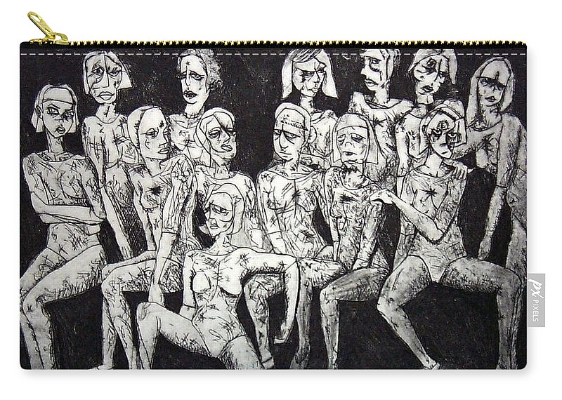 Etching Carry-all Pouch featuring the print Ugly Girls by Thomas Valentine