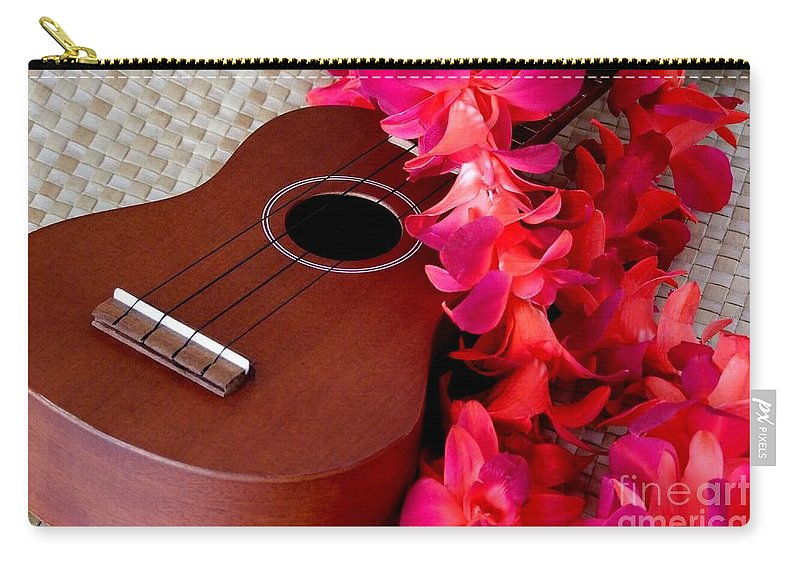 Ukulele Carry-all Pouch featuring the photograph Ukulele And Red Flower Lei by Mary Deal