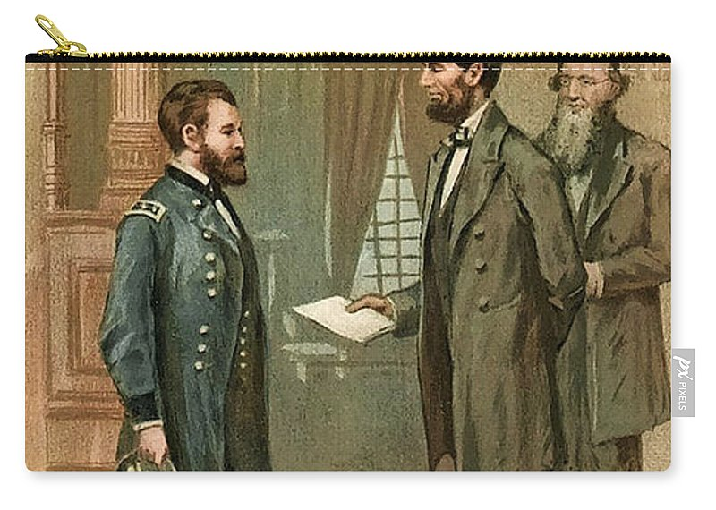 Historic Carry-all Pouch featuring the photograph Ulysses S. Grant With Abraham Lincoln by Wellcome Images