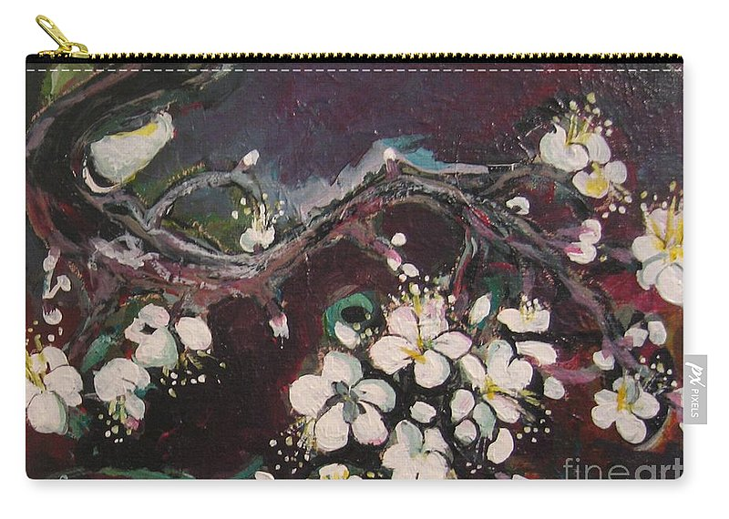 Ume Blossoms Paintings Carry-all Pouch featuring the painting Ume Blossoms by Seon-Jeong Kim