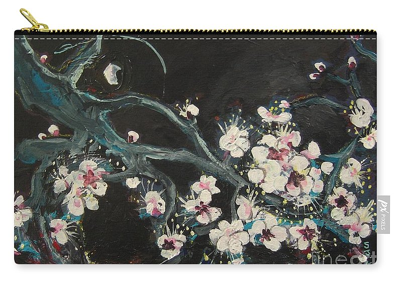 Ume Blossoms Paintings Carry-all Pouch featuring the painting Ume Blossoms2 by Seon-Jeong Kim