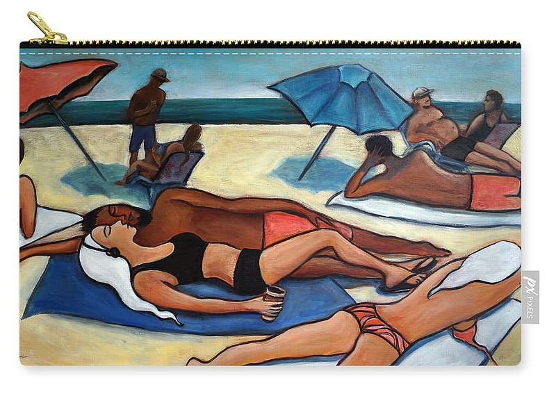 Beach Scene Carry-all Pouch featuring the painting Un Journee a la plage by Valerie Vescovi