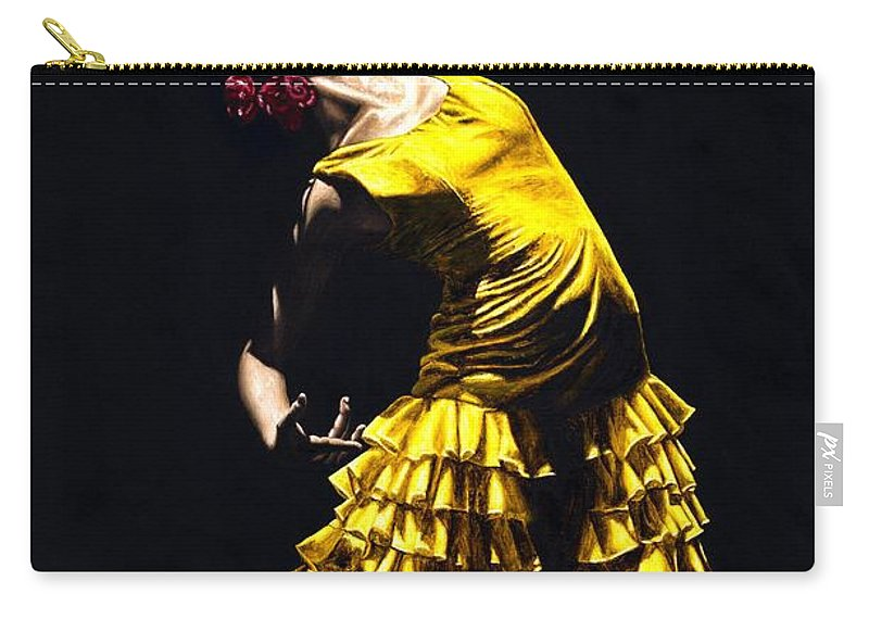 Flamenco Carry-all Pouch featuring the painting Un Momento Intenso Del Flamenco by Richard Young