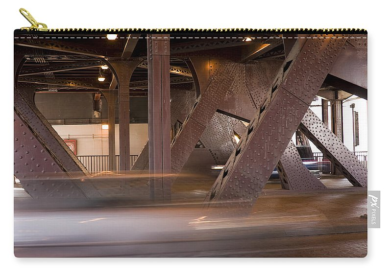 Chicago Windy City Bridge Steel Metal Car Fast Street Road Metro Urban Carry-all Pouch featuring the photograph Under A Bridge by Andrei Shliakhau