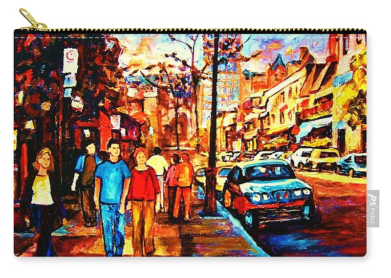 Montrealstreetscene Carry-all Pouch featuring the painting Under A Crescent Moon by Carole Spandau
