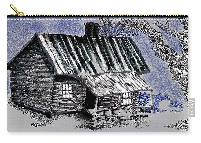 Cabin Carry-all Pouch featuring the drawing Under a Tin Roof by Seth Weaver