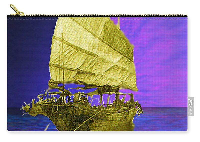 Nautical Carry-all Pouch featuring the digital art Under Golden Sails by Seth Weaver
