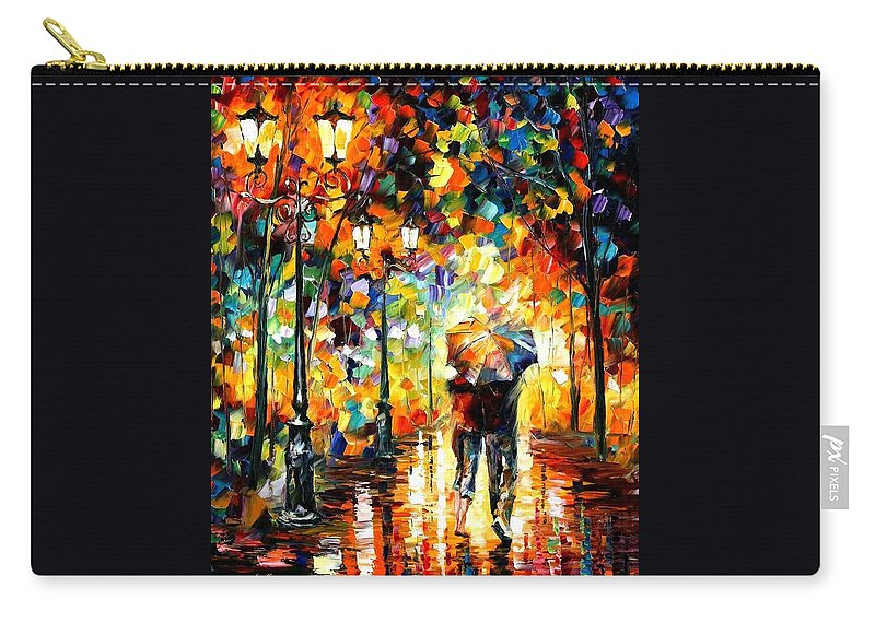 Afremov Carry-all Pouch featuring the painting Under One Umbrella by Leonid Afremov