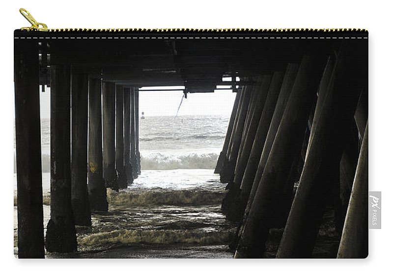 Clay Carry-all Pouch featuring the photograph Under Santa Monica Pier by Clayton Bruster