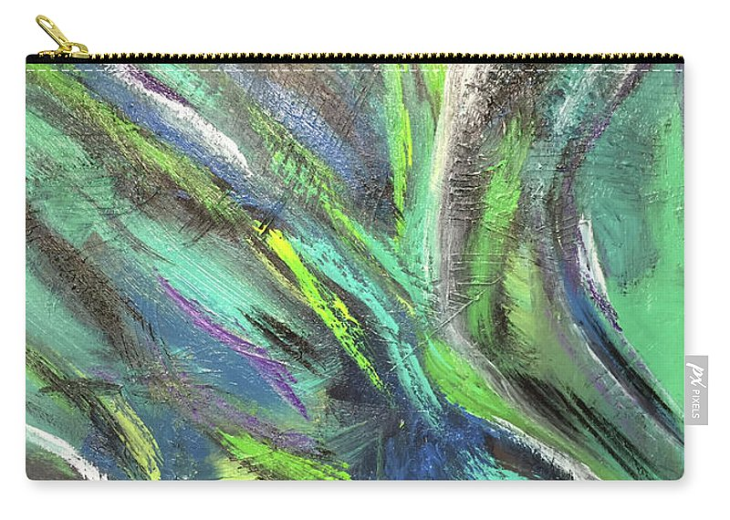 Abstract Green Blue John Cammarano Painting Carry-all Pouch featuring the painting Under Sea by John Cammarano