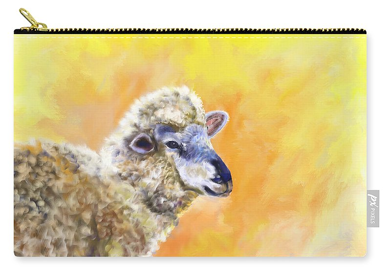 Lamb Carry-all Pouch featuring the painting Under The Lemon Sky by Barb Kirpluk