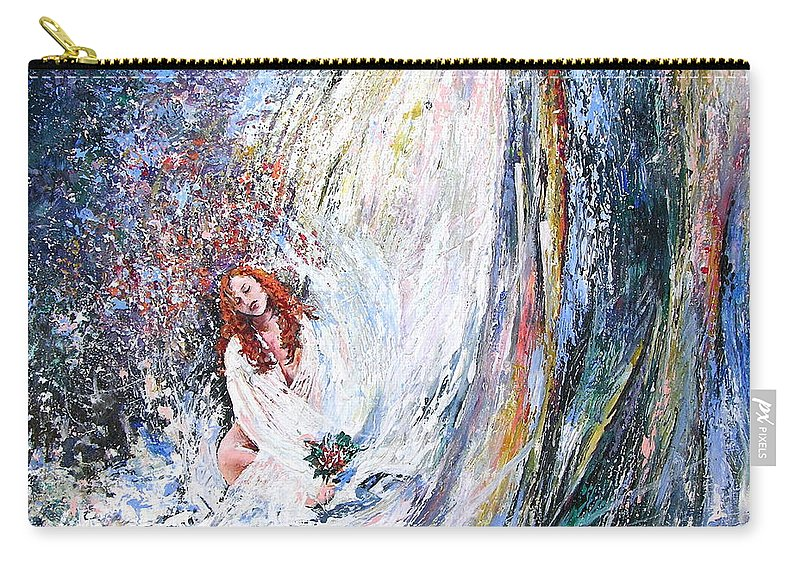Acrylics Painting Woman Under Waterfall Carry-all Pouch featuring the Under The Waterfall by Miki De Goodaboom
