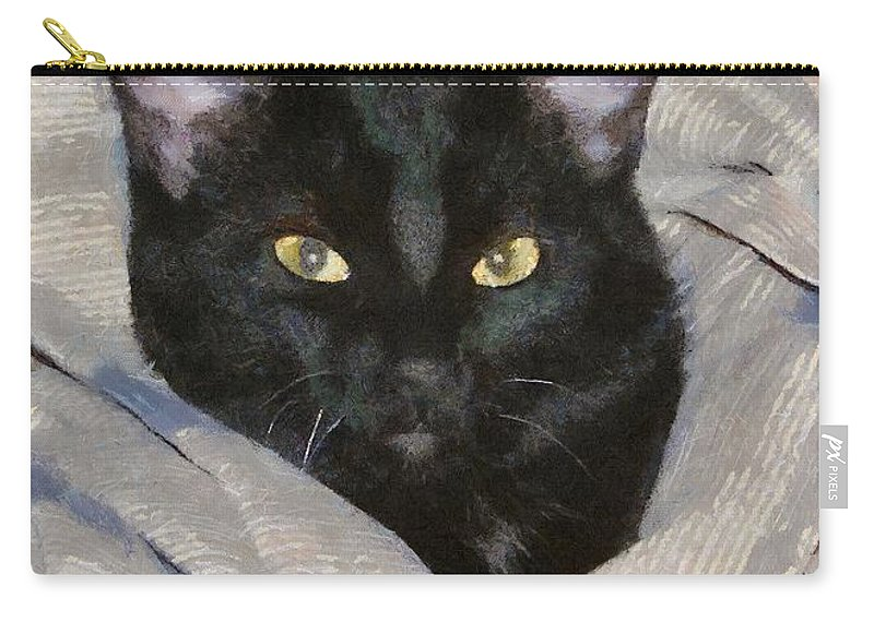 Cat Carry-all Pouch featuring the painting Undercover Kitten by Jeffrey Kolker