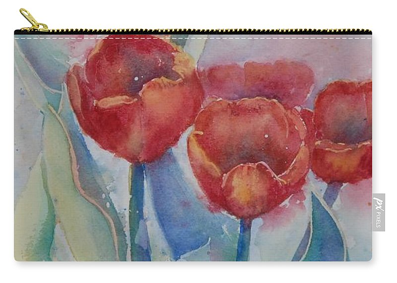 Flowers Carry-all Pouch featuring the painting Undersea Tulips by Ruth Kamenev