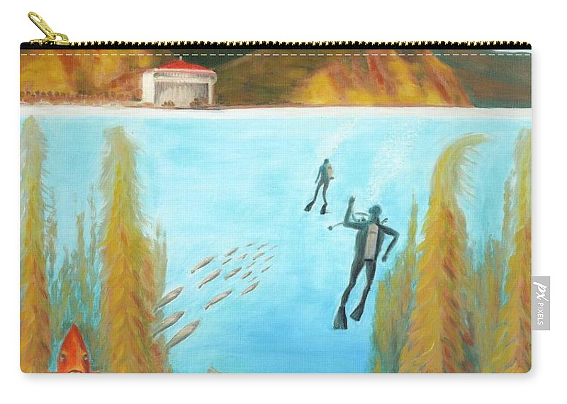 Underwater Carry-all Pouch featuring the painting Underwater Catalina by Nicolas Nomicos
