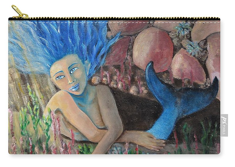 Mermaid Carry-all Pouch featuring the painting Underwater Wondering by Laurie Morgan