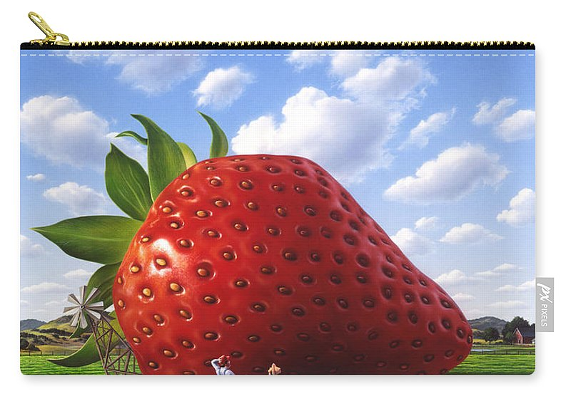 Strawberry Carry-all Pouch featuring the painting Unexpected Growth by Jerry LoFaro