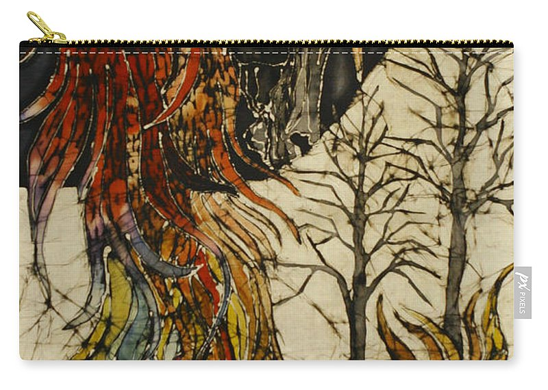 Phoenix Carry-all Pouch featuring the tapestry - textile Unicorn And Phoenix by Carol Law Conklin