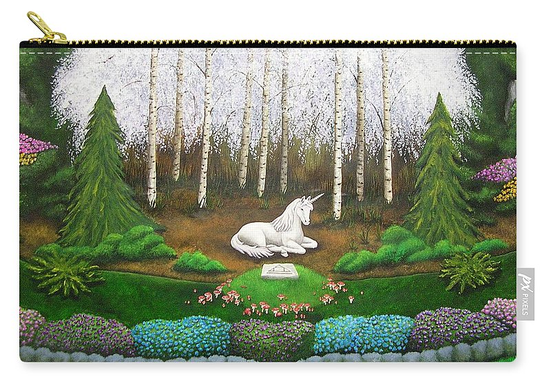 Unicorn Carry-all Pouch featuring the painting Unicorn by Cindy D Chinn