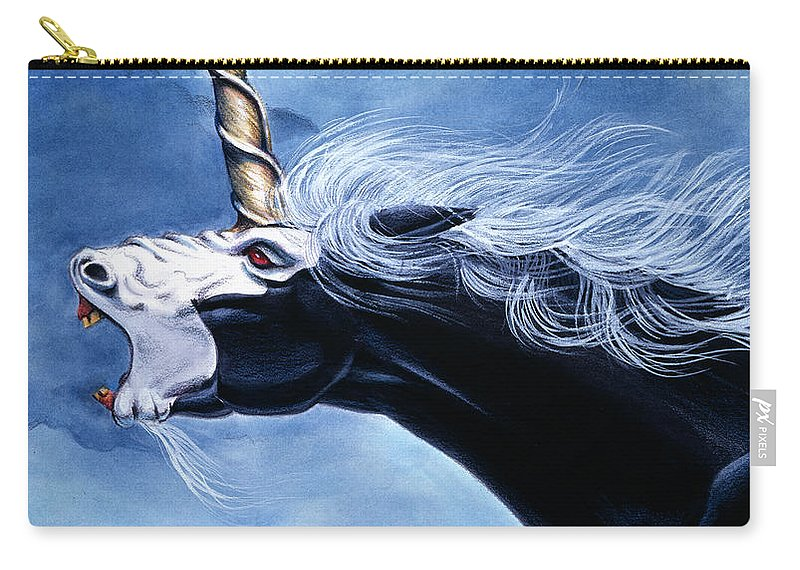 Unicorn Carry-all Pouch featuring the painting Unicorn Fury by Melissa A Benson