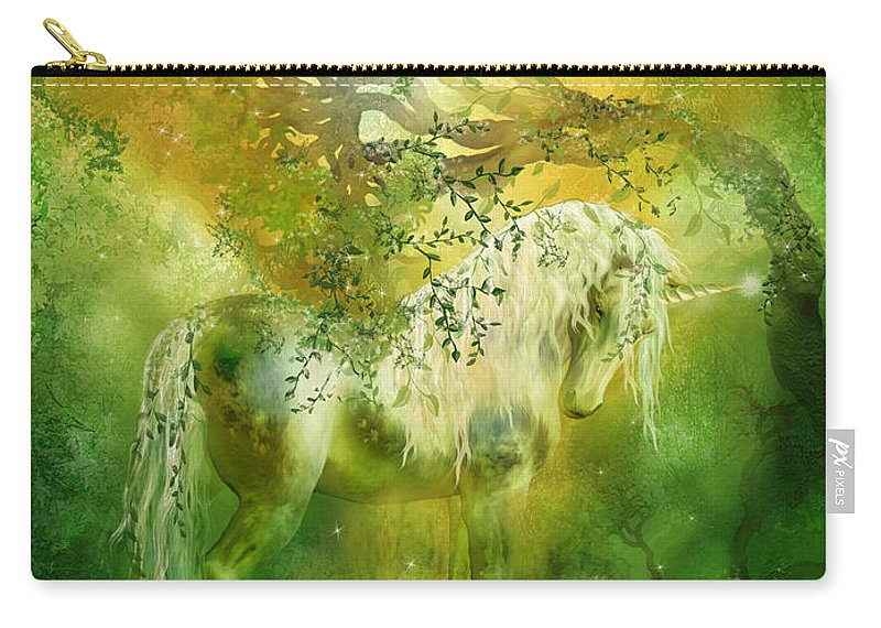 Unicorn Carry-all Pouch featuring the mixed media Unicorn Of The Forest by Carol Cavalaris