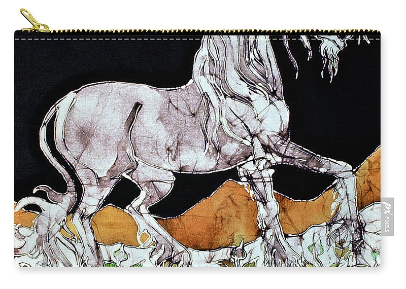 Horse Carry-all Pouch featuring the tapestry - textile Unicorn Over Flower Field by Carol Law Conklin