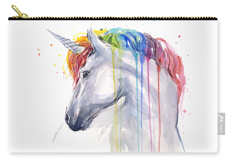Magical Carry-all Pouch featuring the painting Unicorn Rainbow Watercolor by Olga Shvartsur