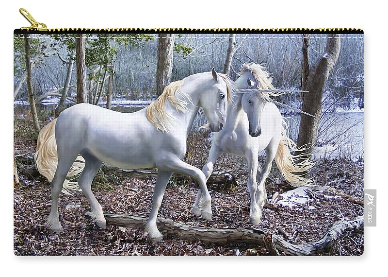 Unicorn Carry-all Pouch featuring the photograph Unicorn Reunion by Barbara Hymer