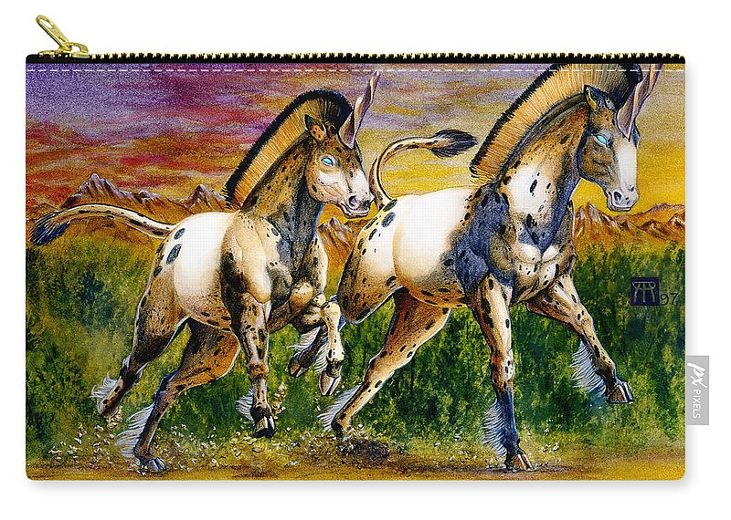 Artwork Carry-all Pouch featuring the painting Unicorns In Sunset by Melissa A Benson