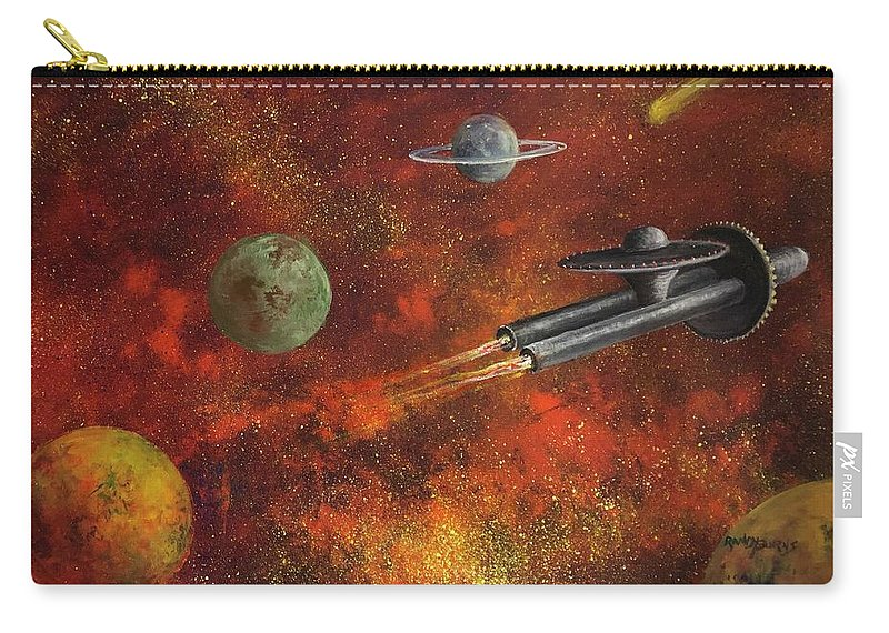 Space Carry-all Pouch featuring the painting Unidentified Flying Object by Randy Burns