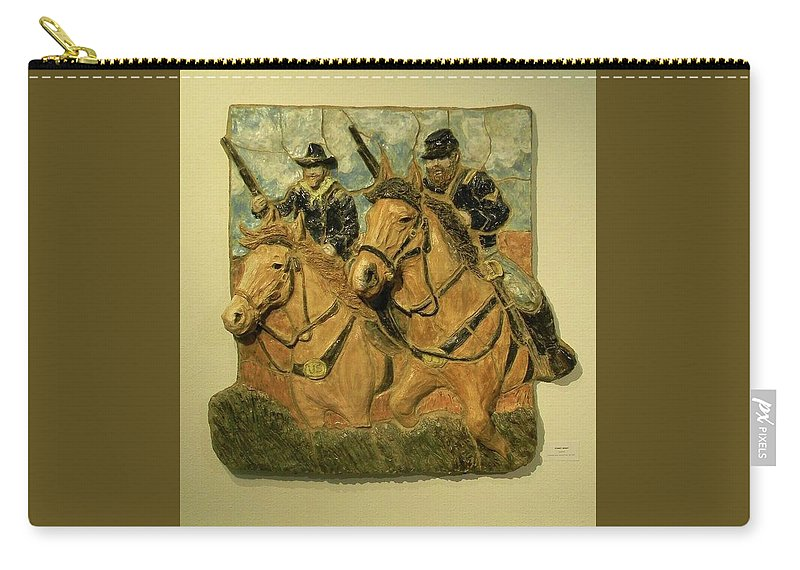 Ceramic Carry-all Pouch featuring the ceramic art Union Cavalry by Corey Jenny