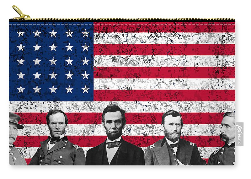 Abraham Lincoln Carry-all Pouch featuring the mixed media Union Heroes And The American Flag by War Is Hell Store
