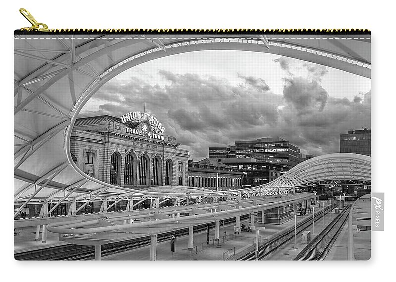 Black And White Carry-all Pouch featuring the photograph Union Station Denver by Cody Sowa