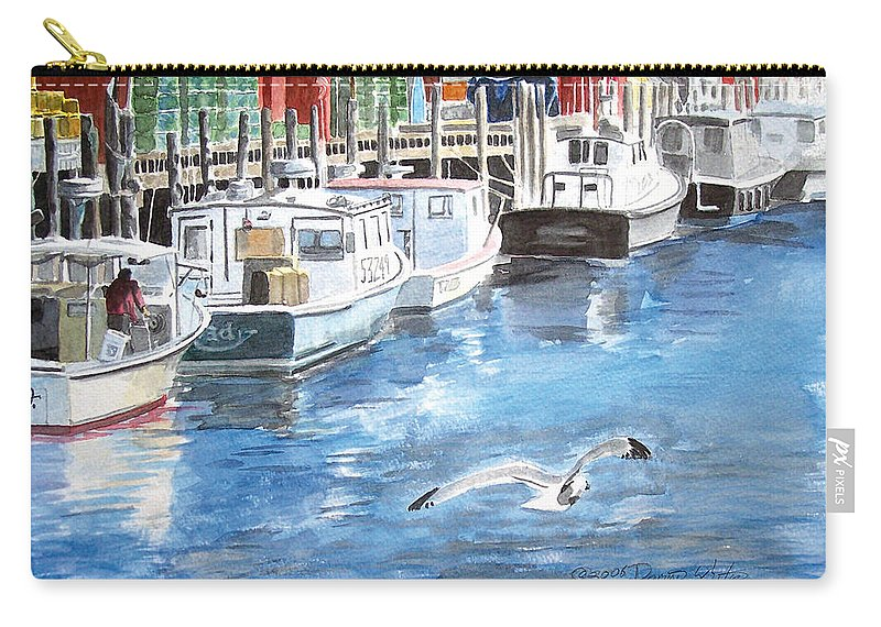 Seagull Carry-all Pouch featuring the painting Union Wharf by Dominic White