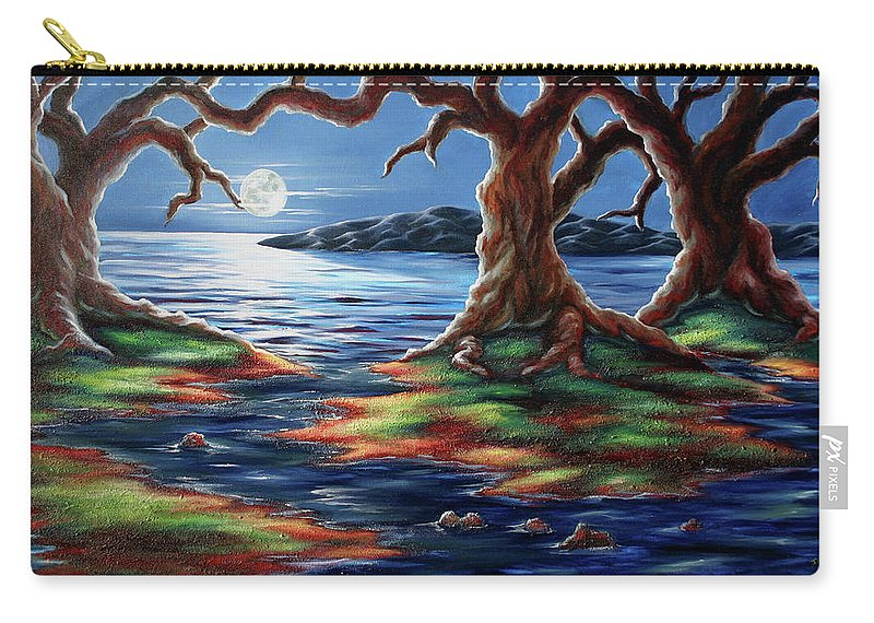 Textured Painting Carry-all Pouch featuring the painting United Trees by Jennifer McDuffie