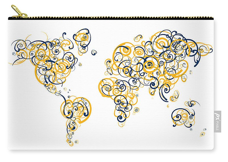 Globe Carry-all Pouch featuring the digital art University Of California Berkeley Colors Swirl Map Of The World by Jurq Studio